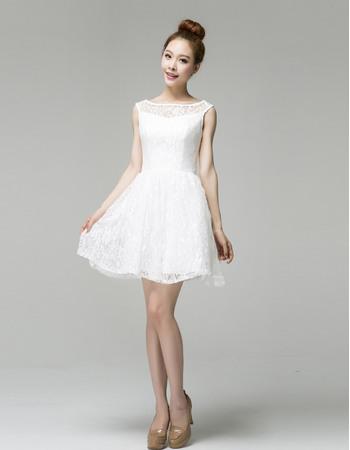 Simple A-Line Bateau Short Beach Lace Wedding Dresses