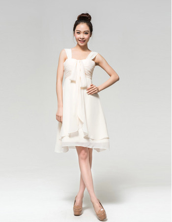 Informal Chiffon Empire Straps Short Dresses for Summer Beach Wedding with Ruched Bodice