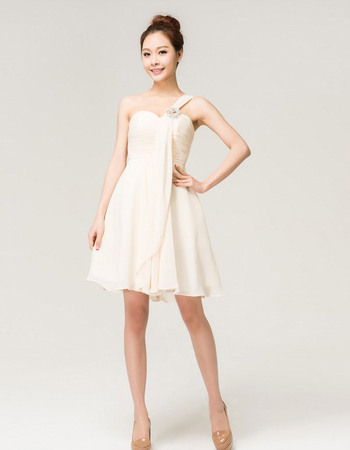 Simple Chiffon One Shoulder A-Line Short Beach Wedding Dresses with Ruched Bodice