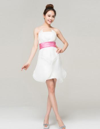 Unique Chic Organza Strapless A-Line Short Beach Wedding Dresses
