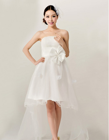 Summer Beach High-Low Satin Tulle Strapless A-Line Wedding Dresses with 3D Floral Appliqué