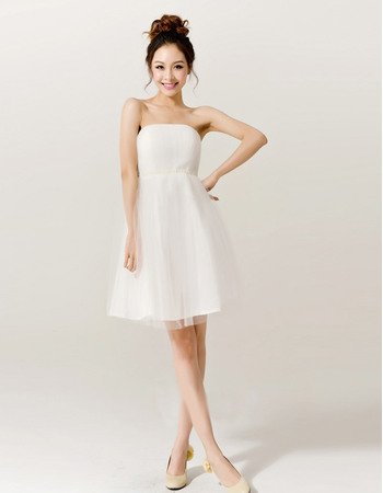 Cheap Simple Beaded Empire Strapless Satin Tulle Short Beach Wedding Dresses