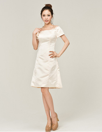 Modest A-line Off-the-shoulder Short Sleeves Satin Short Beach Wedding Dresses