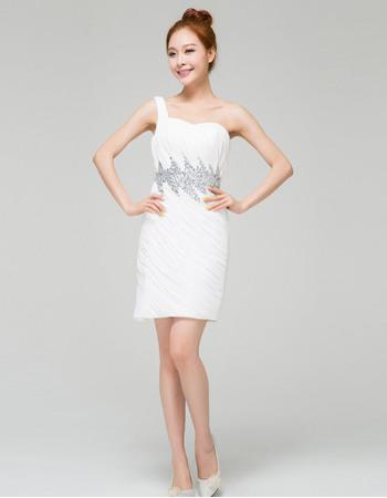 Special Column/ Sheath One Shoulder Pleated Chiffon Short Dresses for Summer Wedding