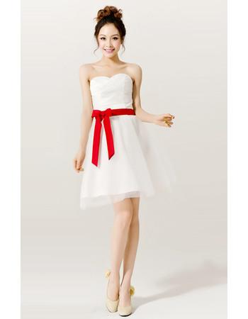 Chic A-Line Sweetheart Short/ Mini Satin Organza Beach Wedding Dresses with Sashes