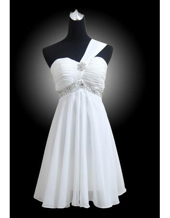 Beautiful A-line Chiffon One Shoulder Empire Short Beach Wedding Dresses