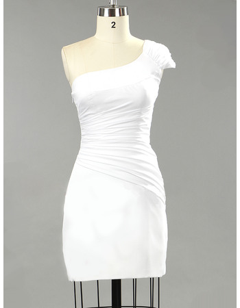 Chic One Shoulder Sheath/ Column Satin Short Beach Wedding Dresses