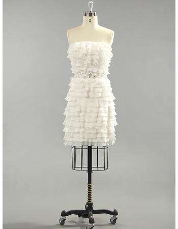 Excellent Tiered Chiffon Column Strapless Short Dresses for Summer Beach Wedding
