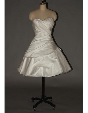Discount A-Line Sweetheart Satin Tulle Short Beach Wedding Dresses