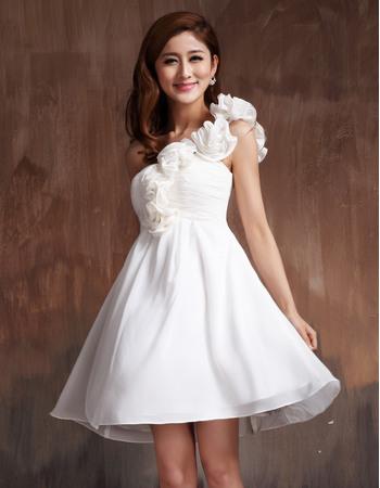 New Style A-line One Shoulder Chiffon Empire Short Beach Wedding Dresses