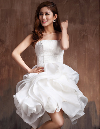 Romantic Ball Gown Strapless Lace Organza Short Reception Wedding Dresses with Ruffles Galore