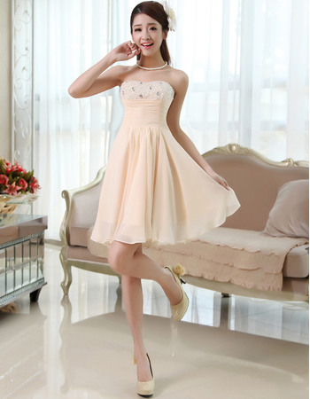 Delicate Crystal Beaded Bust Chiffon Summer Wedding Dresses with Slimming Ruching Across Waist
