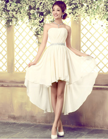 Elegant High-Low Chiffon Sheath Strapless Beach Wedding Dresses ...