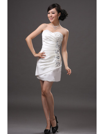 Inexpensive Sheath/ Column Sweetheart Satin Short Beach Wedding Dresses with Rhinestone