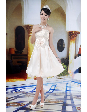 Chic A-Line Strapless Knee Length Reception Satin Wedding Dresses with Sequined Bodice and Bow