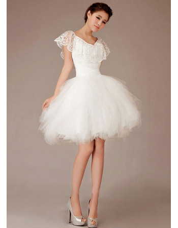 Cute Ball Gown Lace Trim Capelet V-Neck Satin Tulle Wedding Dresses