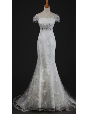 Alluring Elegance Beaded Rhinestone Under Bust Mermaid Lace Wedding Dresses with Short Sleeves