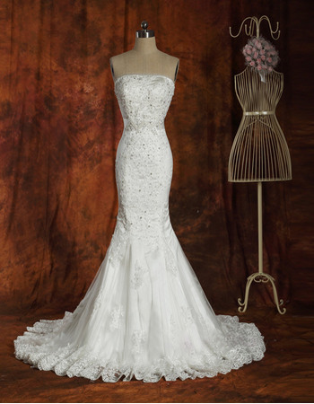 Gorgeous Crystal Beading Mermaid Floor Length Strapless Appliques Tulle Wedding Dresses