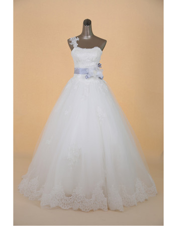 Romantic One Shoulder A-Line Full Length Appliques Tulle Wedding Dresses with Belt