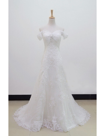 Pretty Beaded Rhinestone Appliques Off-the-shoulder Full Length Tulle Wedding Dresses