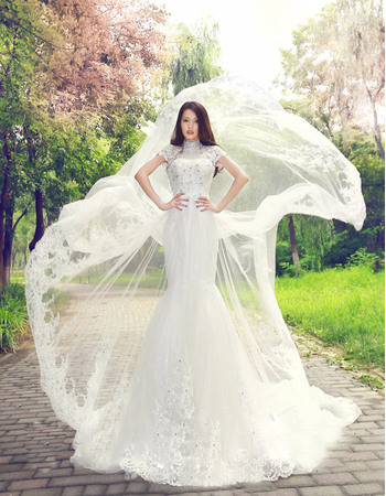Luxury Crystal Beaded High Neckline Lace Appliques Tulle Wedding Dresses
