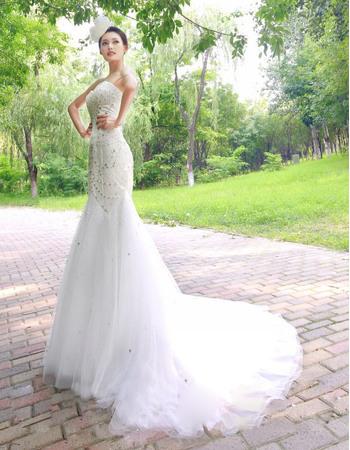 Gorgeous Crystal Beading Mermaid Sweetheart Court Train Satin Tulle Wedding Dresses