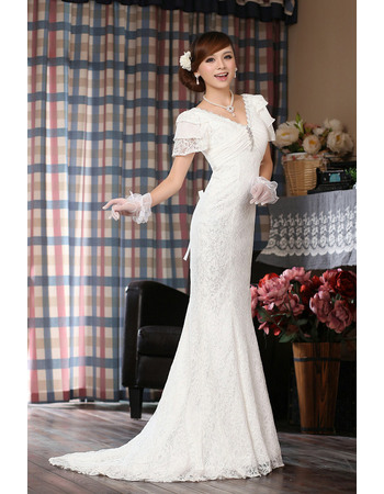 Modern Mermaid Tiered Cap Sleeves V-Neck Lace Wedding Dresses with Pleated Bust
