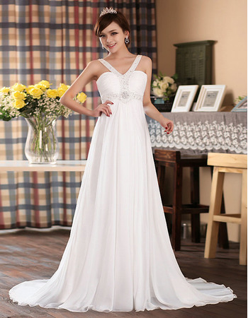Perfect and Elegant Empire Floor Length Chiffon Wedding Dresses with Beaded V-Neck and Waist