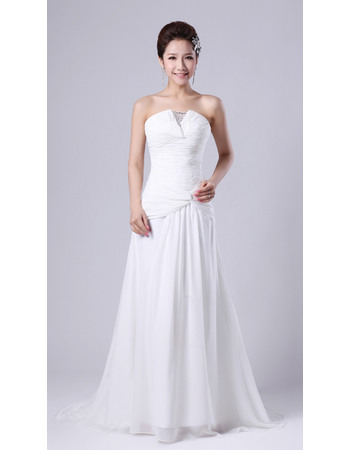 Pretty Chiffon Strapless Floor Length A-Line Wedding Dresses for Spring