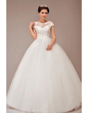 Simple and Elegant Cap Sleeves Ball Gown Tulle Wedding Dresses with Hand-made Flowers