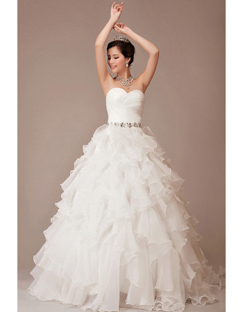 Stunningly Crystal Waist Sweetheart Ball Gown Organza Wedding Dresses with Ruffled Tiered Skirt