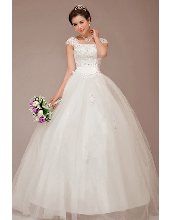 Luxury Beading Appliques Bodice Square Neck Ball Gown Tulle Wedding Dresses