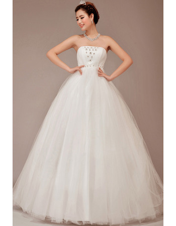Chic and Modern Strapless Ball Gown Tulle Wedding Dresses with Crystal Detail