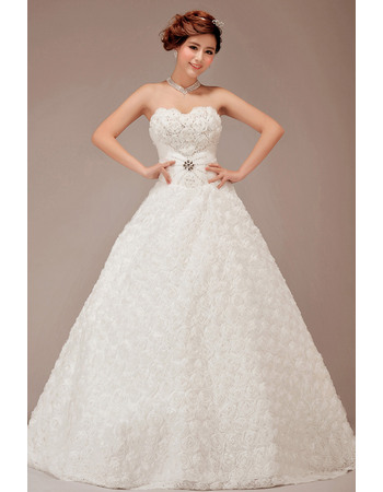 Romantic and Alluring Sweetheart Ball Gown Floral Lace Wedding Dresses with Beaded Crystal Detail