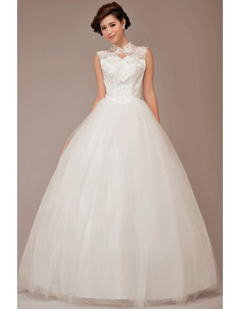 Custom Beaded Appliques High Neckline Ball Gown Tulle Wedding Dresses with Keyhole Cutout