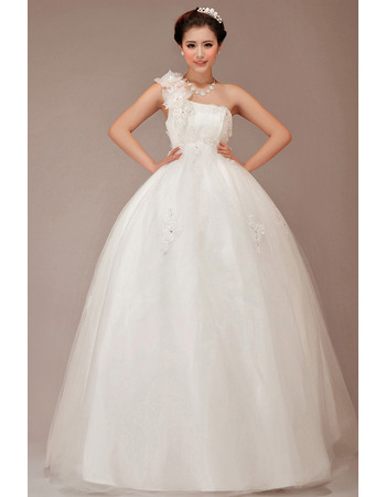 Attractive One Shoulder 3D Flowers Strap Ball Gown Tulle Wedding Dresses with Crystal Detail