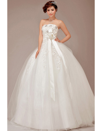 Gorgeous Rhinestone Beaded Appliques Strapless Ball Gown Tulle Wedding Dresses with 3D Flowers