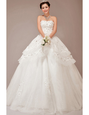 Sparkle & Shine Sequined Crystal Detail Tiered Skirt Ball Gown Strapless Wedding Dresses