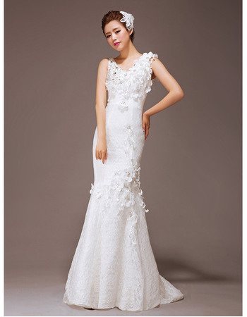 Romantic Perfect Mermaid Scoop Neck Floor Length Lace Wedding Dresses with Hand-made Flowers