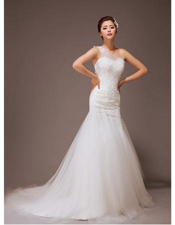 Sparkle & Shine Crystal Beadings One Shoulder Mermaid Tulle Wedding Dresses