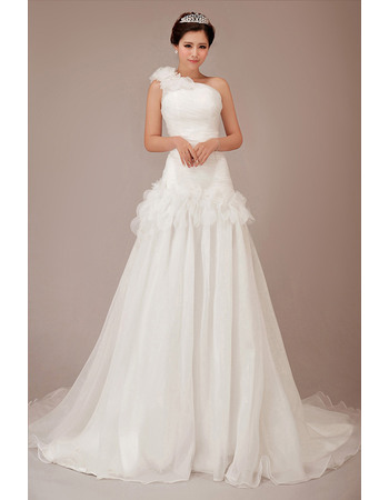 Romantic A-Line One Shoulder Ruched Bodice Organza Wedding Dresses with Handmade Flowers