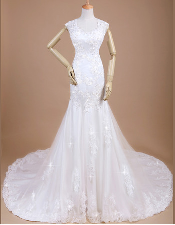 Romantic Mermaid/ Trumpet Long Length Beaded Lace Appliques Wedding Dresses with Open Back
