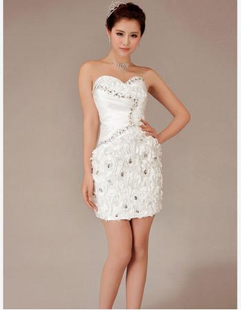 Beautiful Crystal Detail Sheath Sweetheart Short Beach Taffeta Wedding Dresses with 3D Flowers