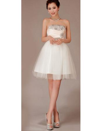 Shimmering Sequined Beadeding Strapless Short Beach Tulle Wedding Dresses