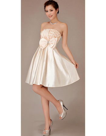 Chic A-line Strapless Asymmetrical Draping Short Reception Wedding Dresses with Bow