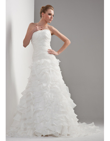 Modern A-Line Strapless Ruched Bodice Chiffon Wedding Dresses with Exquisitely Layered Organza Skirt