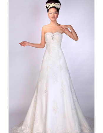 Exquisite Beading Appliques Sweetheart Full Length Satin Tulle Wedding Dresses with Pleated Bust