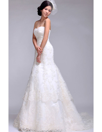 Graceful A-Line Sweetheart Pleated Bust Lace Wedding Dresses with Layered Draped High-Low Skirt