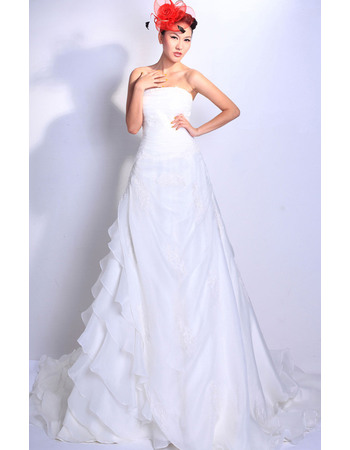 Discount A-Line Tiered Floor Length Organza Strapless Empire Wedding Dresses