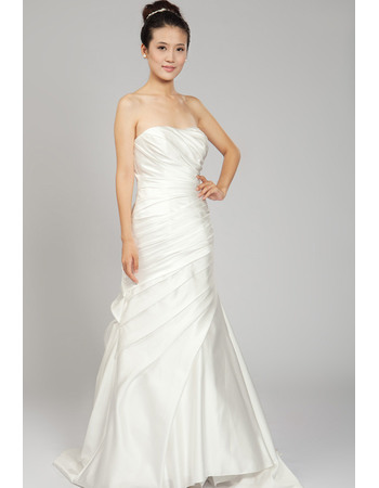 Simple A-Line Strapless Satin Wedding Dresses with Asymmetrical Draped